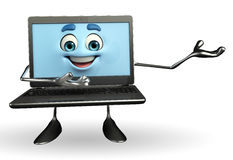 Laptop Character is presenting pose Royalty Free Stock Images