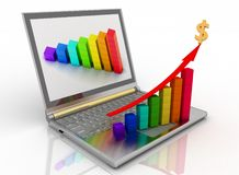 Laptop with chart Stock Photo