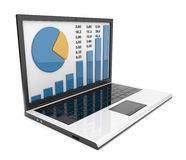 Laptop with chart. Business success. Isolated Royalty Free Stock Photo