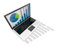 Laptop with chart. Business success. on white Royalty Free Stock Photography