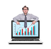 Laptop with chart Royalty Free Stock Photography
