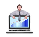 Laptop with chart Stock Photography