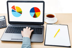 Laptop with chart on screen on office desk Royalty Free Stock Images