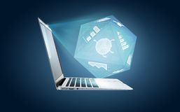 Laptop with charts and graphs. Business concept. Laptop with charts and graphs Stock Images