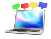 Laptop with chat  bubbles. On white. 3d rendered image Royalty Free Stock Photography