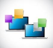 Laptop chat communication illustration Royalty Free Stock Images