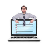 Laptop with check box Stock Images