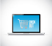 Laptop check out sign illustration design Stock Photos