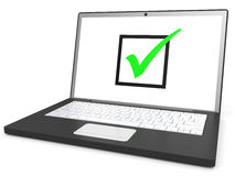 Laptop with checkbox on screen on white background. Royalty Free Stock Image