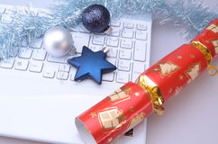 Laptop with Christmas Decorations Stock Photography