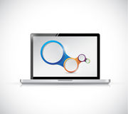 Laptop and circles link diagram Royalty Free Stock Photography