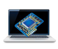 Laptop and circuit Royalty Free Stock Photo