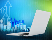 Laptop and city of skyscrapers with arrows flying. Up Royalty Free Stock Image