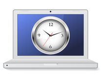 Laptop with clock Stock Images
