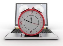 Laptop and clock. 3d illustration on white Royalty Free Stock Photos