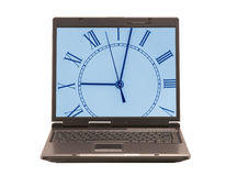 Laptop with clock on display. Front view on laptop with clock on display Stock Photography