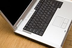 Laptop Close-Up. Selective focus falls off toward back of frame Royalty Free Stock Photos