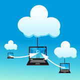 Laptop with cloud Royalty Free Stock Image