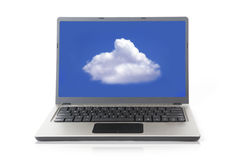 Laptop with cloud Royalty Free Stock Photography