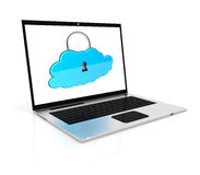 Laptop and cloud. The laptop with the closed cloud. This is a 3D rendered picture Royalty Free Stock Photos