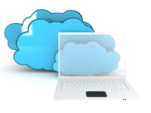 Laptop and cloud. The laptop with the closed cloud. This is a 3D rendered picture Stock Photography