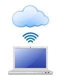 Laptop and Cloud computing Royalty Free Stock Images