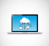 Laptop and cloud computing connection illustration Royalty Free Stock Images