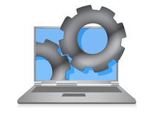 Laptop cloud computing gears illustration Stock Photo