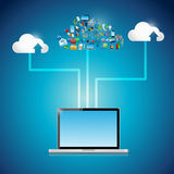 Laptop cloud computing icon network illustration Stock Photos