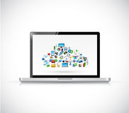 Laptop and cloud computing icons. illustration Royalty Free Stock Image