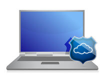 Laptop and cloud computing shield security concept Stock Images