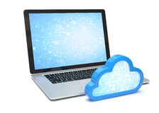 Laptop with cloud computing symbol Royalty Free Stock Photos