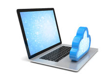 Laptop with cloud computing symbol on keyboard Royalty Free Stock Images