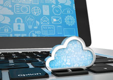 Laptop with cloud computing symbol on keyboard Stock Photography