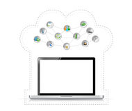 Laptop cloud computing tools illustration tools Royalty Free Stock Images