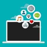 Laptop cloud connection social media Stock Images