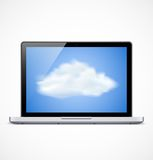 Laptop with cloud icon Stock Images