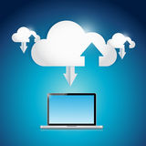 Laptop and cloud info connection illustration Stock Image
