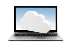 Laptop with cloud isolated on white Royalty Free Stock Image