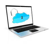 Laptop and cloud Stock Photo