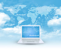 Laptop in cloud sky Royalty Free Stock Images