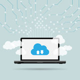 Laptop Cloud Uplink Royalty Free Stock Photography