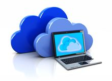Laptop with clouds Royalty Free Stock Images