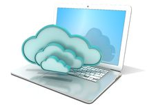 Laptop with clouds 3D computer icon. Concept of cloud computing Stock Photo