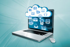 A laptop with clouds database Stock Photos