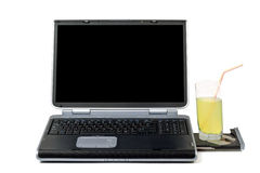 Laptop and cocktail Royalty Free Stock Images