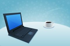 Laptop with coffee Royalty Free Stock Images