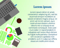 Laptop with coffee cup, smartphone, analytic documents. Flat lay style. Vector illustration royalty free illustration