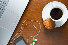 Laptop and coffee cup top view Stock Photo