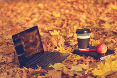 Laptop, coffee and diary Royalty Free Stock Photos